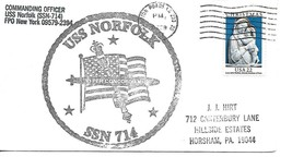 NORFOLK (SSN-714) 20 Feb 1984 Ships Crest Cachet USPS Postmark Hampton R... - $3.47