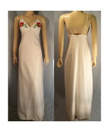 70s white spagetti strap maxi dress with red roses XS X long - $18.95