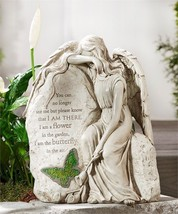 "14"" Memorial Sitting Weeping Angel Design Garden Stone with Sentiment"
