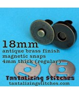 5 Antique Brass 18 mm Regular Magnetic Snap Closures - $3.21