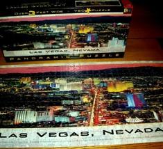 Jigsaw Puzzle 750 Pieces Panoramic Vintage Las Vegas Strip Night Photo Complete - $15.83