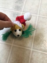 Crochet Christmas Ornament Puppy Dog with Red Santa hat - $14.01