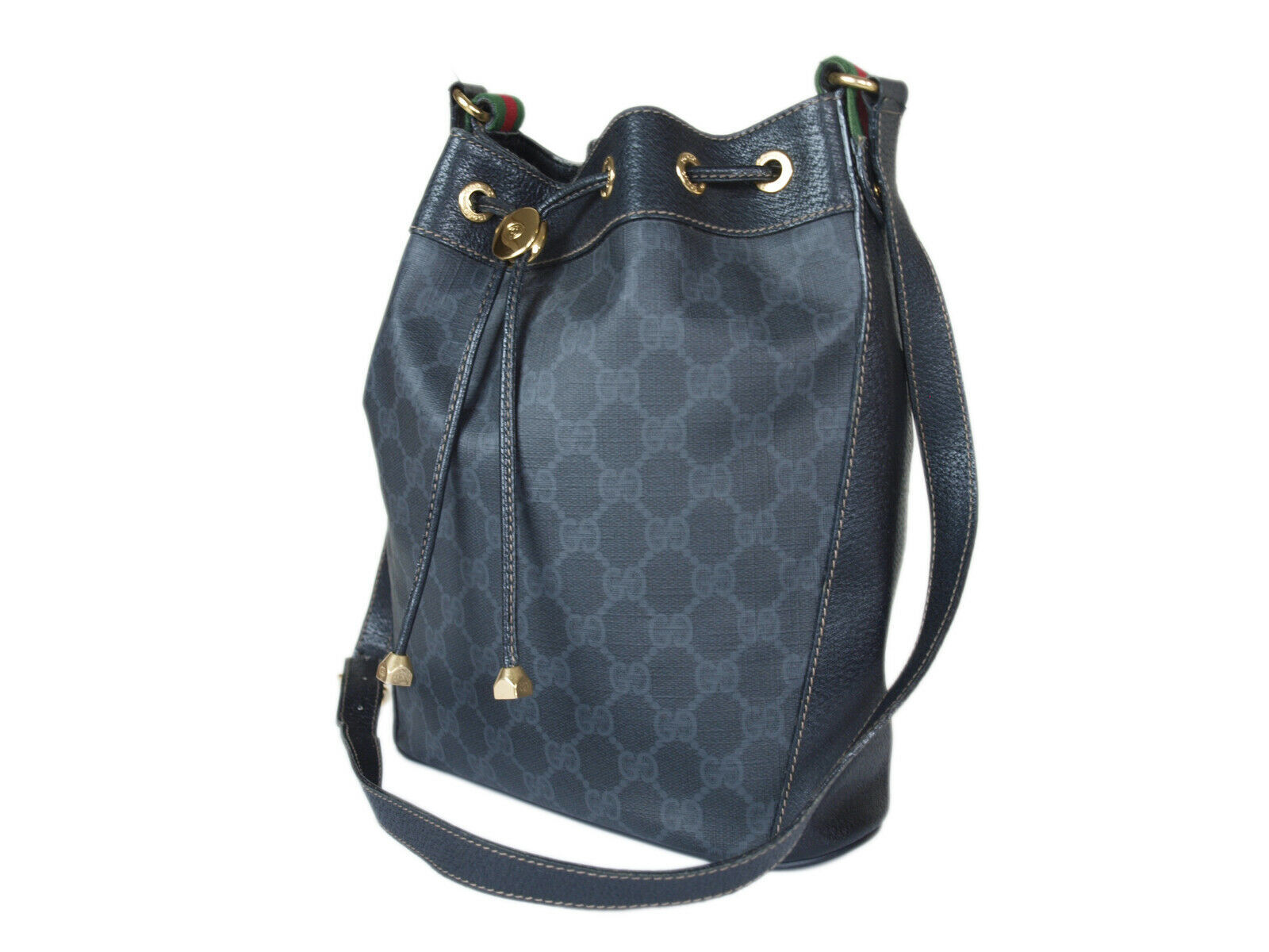 Auth GUCCI GG Web PVC Canvas Leather Black Drawstring Shoulder Bag GS2129