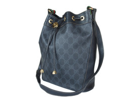Auth GUCCI GG Web PVC Canvas Leather Black Drawstring Shoulder Bag GS2129 - $319.00