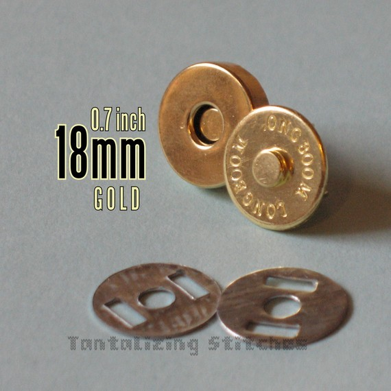 5 Gold No 2 18 mm Regular Magnetic Snap Closures
