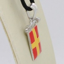 SOLID 925 STERLING SILVER PENDANT WITH NAUTICAL FLAG, LETTER R, ENAMEL, CHARM image 2