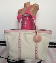 Victoria's Secret Beige Pink Gold Canvas Studded Tote Bag & Pom Pom Keyc... - $29.69