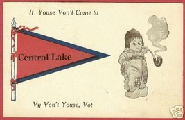 CENTRAL LAKE MI Pennant Dutchman Smoking 1913 PC - $7.00