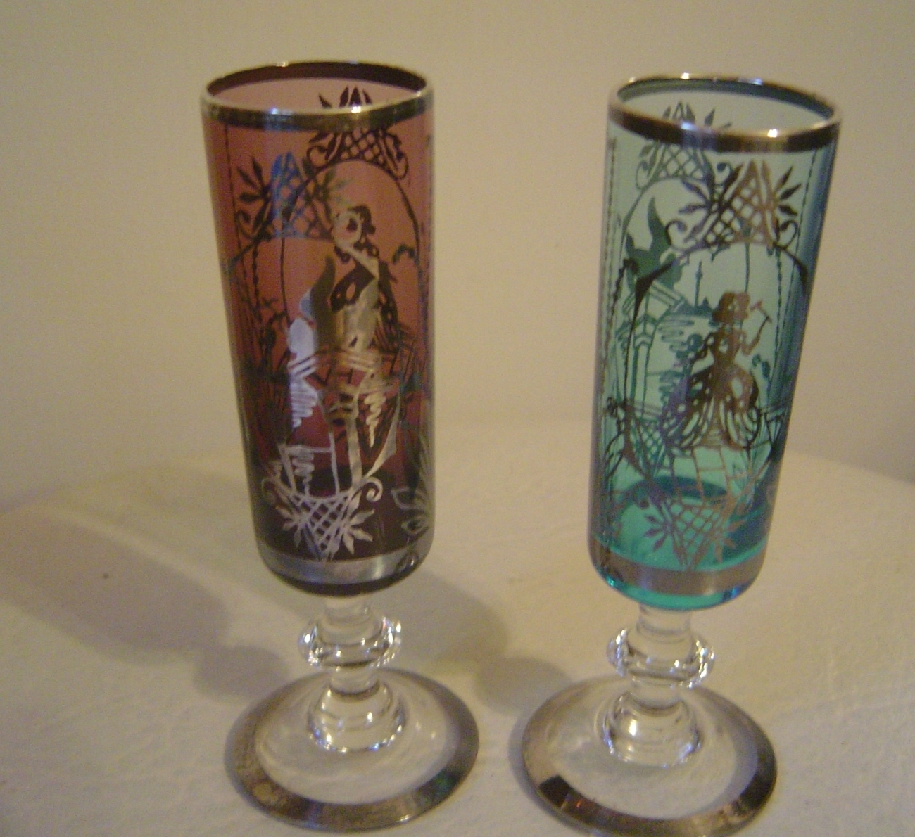 Victorian Silver Overlay Stemmed Cordial Liqueur Glasses England