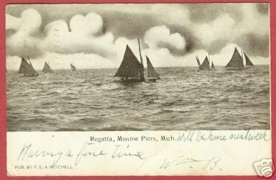 MONROE PIERS MI Regatta Sailboats MICHIGAN 1908 UDB