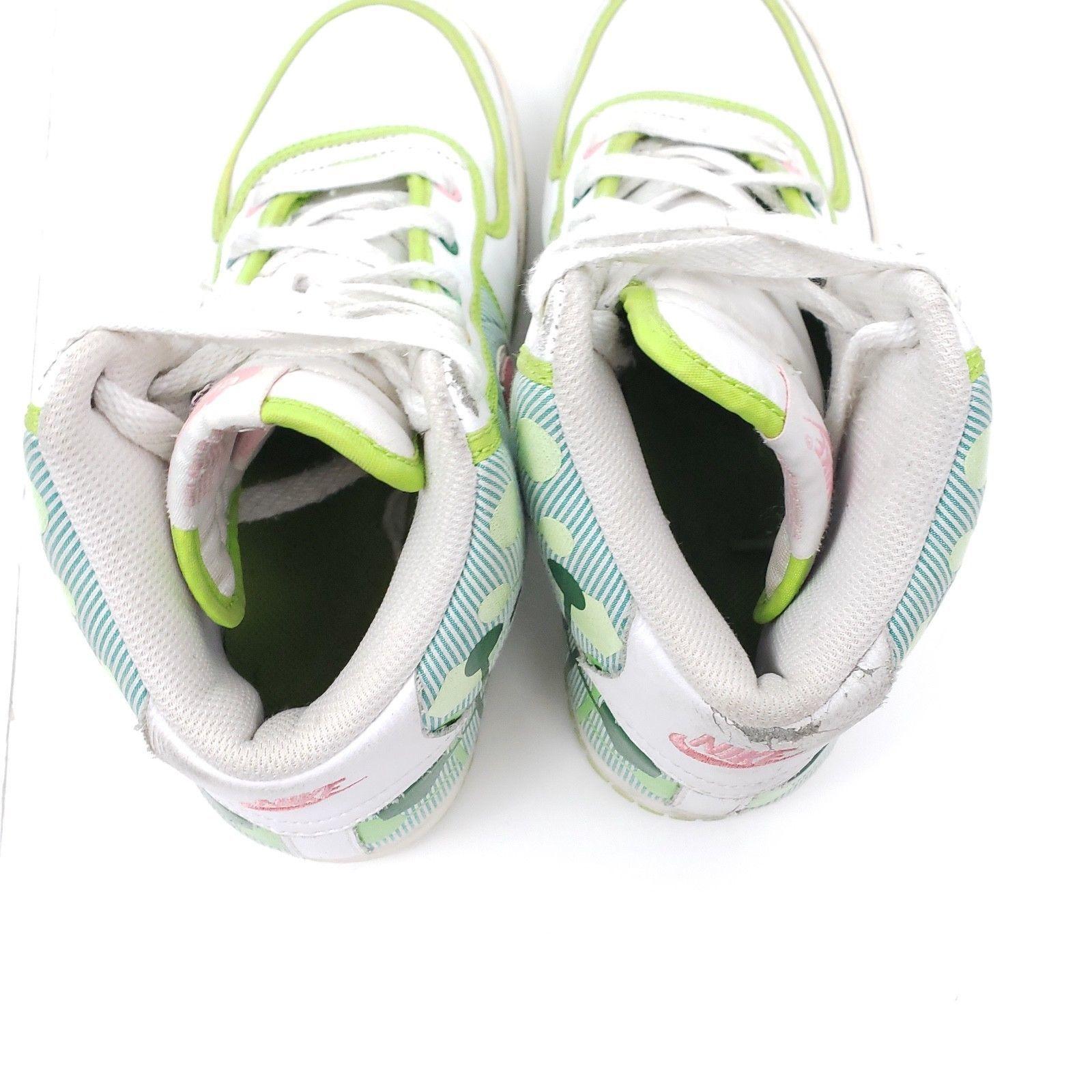 Nike White/Green/Pink Vandal High Sneakers 317038-161: Sz 5Y, 6.5W