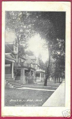MI FLINT MICHIGAN Beach Street Homes Trees 1908