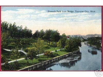 TRAVERSE CITY MICHIGAN Hannah Park fr Bridge River Mich