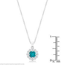 Bella Bridal Halo Necklace Pendant December Birthstone 3.28ct Cubic Zirc... - $19.99