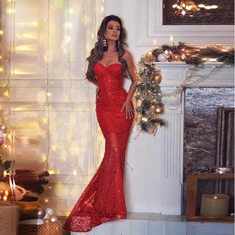 Mermaid Prom Dress Red Lace Long Prom Party Gowns Cheap Women Evening Dress