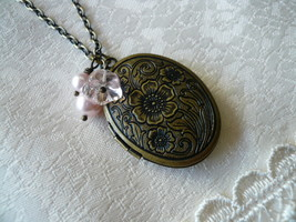 Pink Flower & Pearl Oval Locket Long Necklace - $26.00