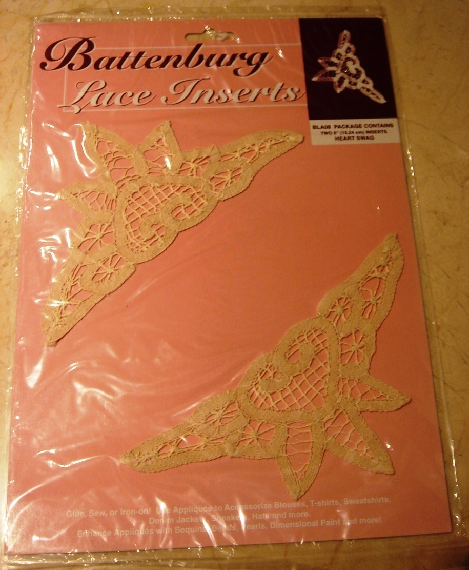 2 Battenberg Lace Insert Trim, Heart Swag, New in Pkg
