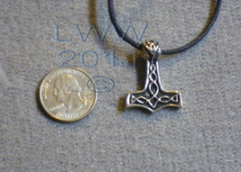 Norse God Thor`s Hammer Wisdom Pewter Amulet Necklace  - $4.85