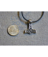 Norse God Thor`s Hammer Wisdom Pewter Amulet Necklace  - $4.85
