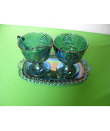 Indiana Carnival Glass Harvest Grape Blue Creamer Sugar Tray USA - $53.99