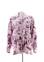Isaac Mizrahi Soho Estampado Floral Anorak Chaqueta Tejido Lila Ice 1X Nuevo - $57.34