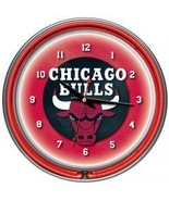 Chicago Bulls NBA Chrome Double Ring Neon Clock for your wall - $87.56