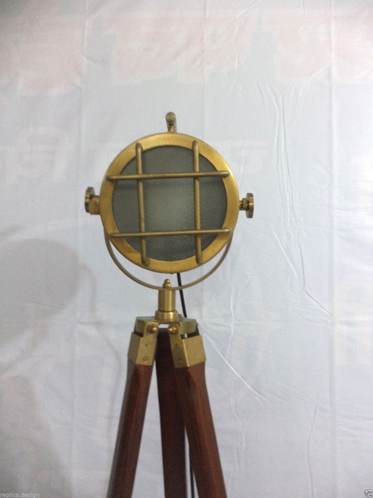 Antique brass spotlight nautical searchlight designer for Antique floor lamp electrical parts
