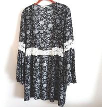 Moa Moa Womens Size M Black Cream Floral Lace Inset Boho Cardigan - $25.50
