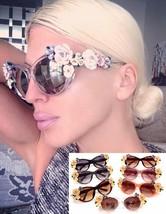 New Women Sunglasses Flower Cat Eye Fashion Glasses Summer Beach Oval Su... - $16.36