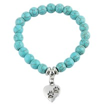 Bespmosp New Vintage Heart Dog Cat Animal Feet Footprint Blue Bead Penda... - $7.99