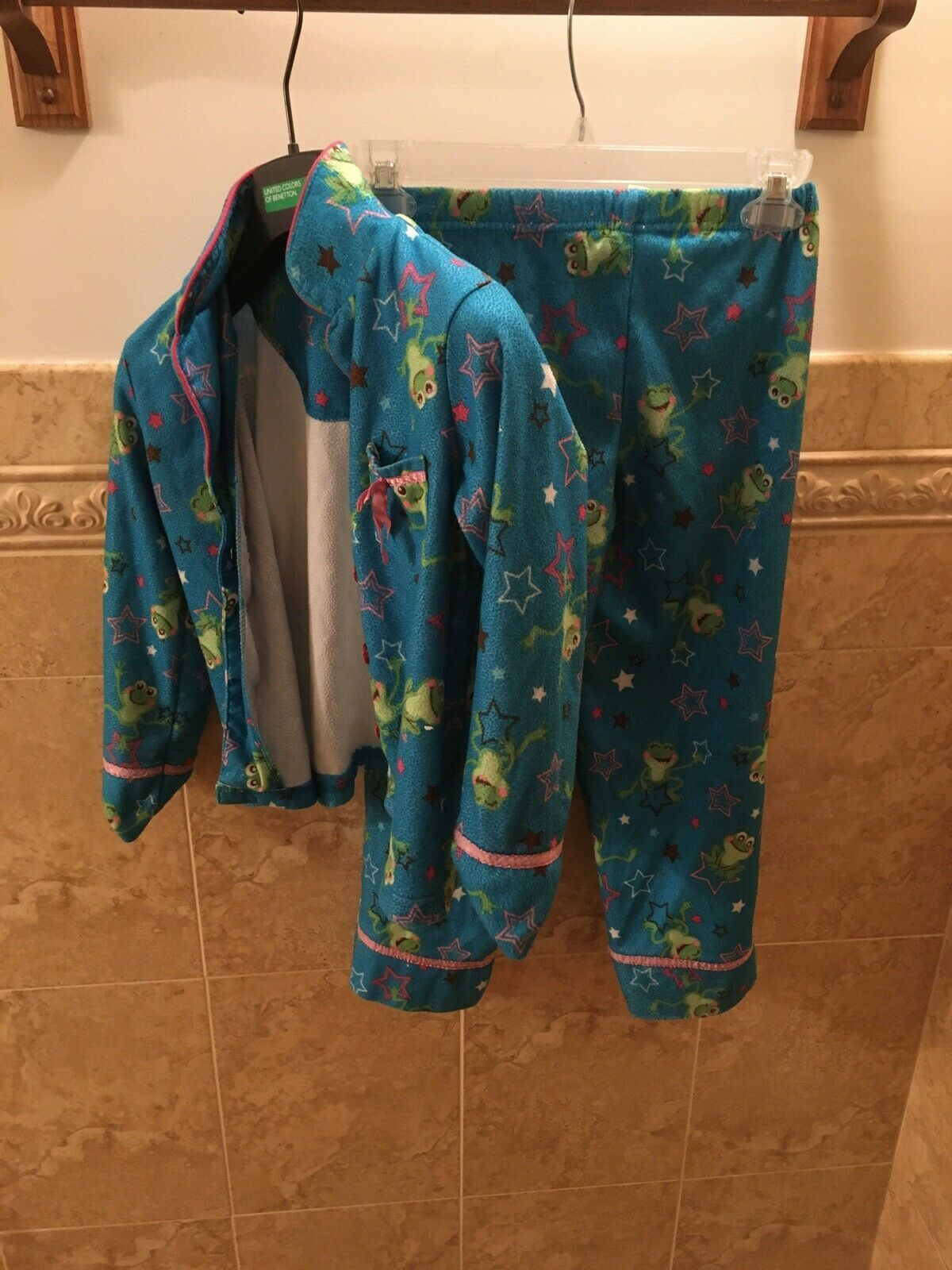 Primary image for Saint Eve Kids Frogs And Stars Girls Pajama Set Size 6 Blue