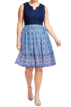 Eshakti Womens Dress 22W 2X Blue Tile Print Mixed Media Fit And Flare B8... - $19.28