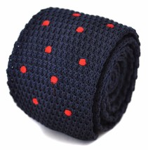 Knitted Skinny Navy Blue & Red Spot Mens Tie by Frederick Thomas FT1174 - $18.37