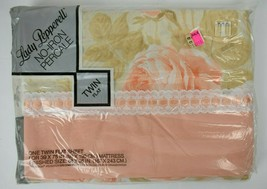 Vintage NOS Lady Pepperell Percale Twin Flat Sheet Galleria Rose Peach Lace - $24.75