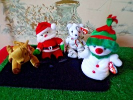 4 TY Beanie Babies Christmas/holiday-Santa/Snowman/Reindeer/bear with tags image 1