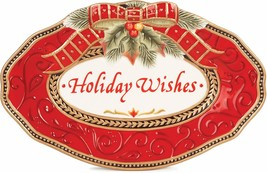 Damask Holiday Sentiment Oval Serving Tray - $32.19