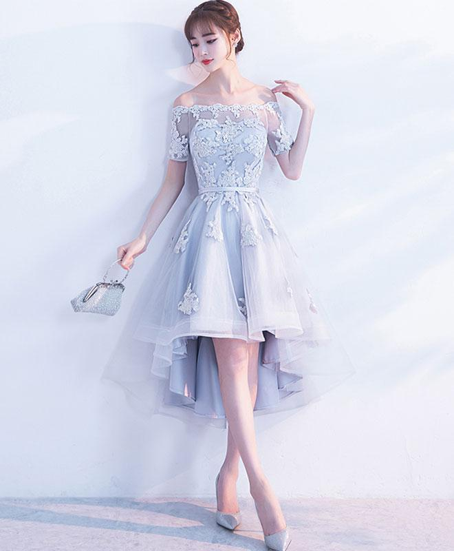 Gray A-line high low tulle prom dress, gray bridesmaid dress,HH094