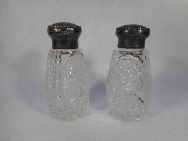 Antique Press Cut Crystal Salt and Pepper Shaker Set with Sterling Silver Lids