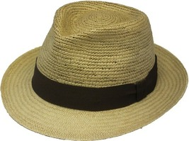 Henschel Genuine Panama Handcrafted Trilby Fedora Black Ribbon Band Wheat Khaki - £94.74 GBP