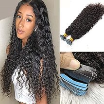 Loose Curly Tape in Human Hair Extension Brazilian Remy Adhesive Tape on... - $90.09