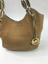 Michael Kors Purse Lilly Straw Gold Leather Chain Links Shoulder Bag Hobo - $59.39
