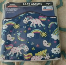 New 2 Pack Unibody Soft Stretch Face Masks Unicorns Rainbows Hearts Clouds  - $5.94