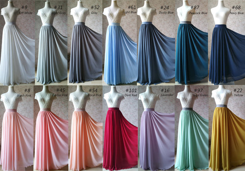 LIGHT BLUE Plus Size Chiffon Skirt Women Bridesmaid Pleated Maxi Chiffon Skirts