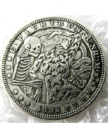 1893 Dancing with Death Woman Dollar skull zombie skeleton Creative Cast... - $9.49