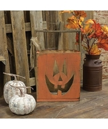 Wood orange Jack-O-Lantern Tote Halloween Porch Party Candle Holder - $35.00