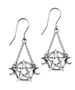 Alchemy Gothic Wiccan Goddess Earrings Hanging Pentagram Moons on Chain ... - $20.95