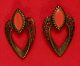 Signed VAL Earrings Filigree with Orange Pierced by VAL Casting Company ... - $14.80