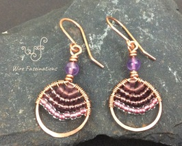 Handmade copper earrings: circle wire wrapped with amethyst and glass beads - $28.50