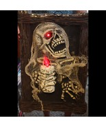 HUGE 3-D Zombie Skeleton LIGHT UP PICTURE PORTRAIT Halloween Prop Decora... - $29.67