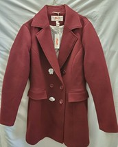 Haute Edition Womens Double Breasted Wool Blend Peacoat Burgundy Small New - $69.95